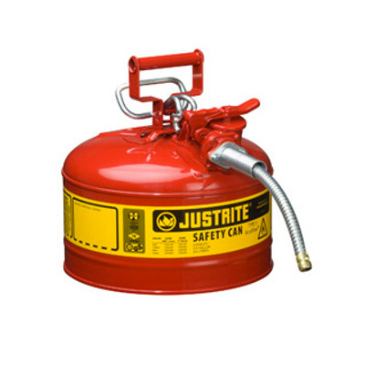 """Justrite® Type II Steel Safety Can, 2.5 gallon AccuFlow, 5/8"""" Spout"""