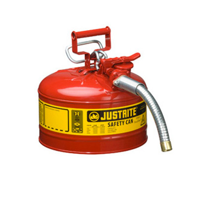 """Justrite® Type II Steel Safety Can, 2.5 gallon AccuFlow, 1"""" Spout"""