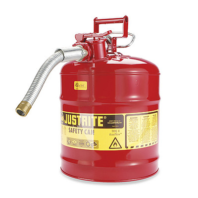 """Justrite® Type II Steel Safety Can, AccuFlow, 5 gallon, 1"""" Spout"""