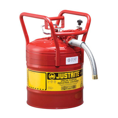"""Justrite® Type II D.O.T. Steel Safety Can, AccuFlow, 5 gallon, 1"""" Spout, Roll Bars, Red"""