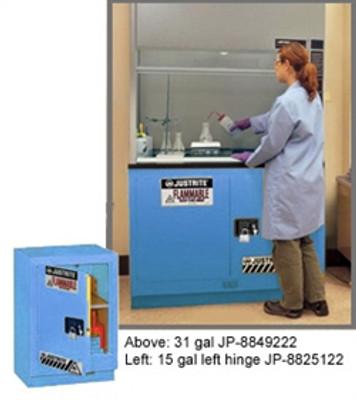"Justrite® Acid Fume Hood Cabinet, ChemCor Lined 15 gal 24"" Blue RH, Self-Closing"