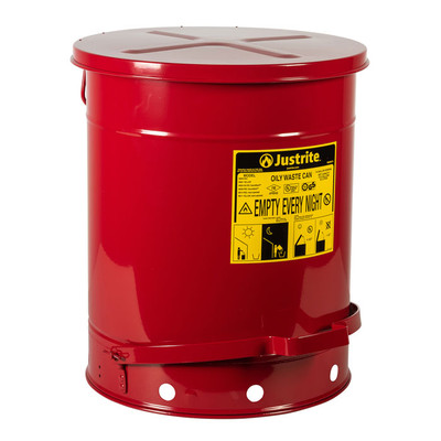 Oily Waste Can, 14 Gallon, Foot-Operated Self-Closing SoundGard Cover, Red