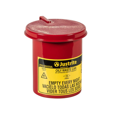 Oily Waste Mini Benchtop Can For Long Cotton-Tip Applicators, 0.45 Gallon, SoundGard Cover, Red