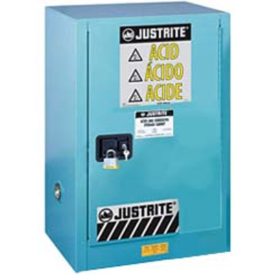 Justrite® Acid Safety Cabinet, Compact Style, 12 gal, ChemCor Liner Blue self-closing