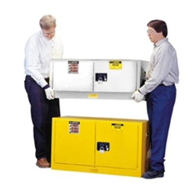 Justrite® Flammable Piggyback Cabinet, 12 gal White self-closing