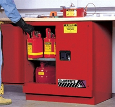 Justrite® Under-Counter Flammable Cabinet, 22 gal Red self-closing