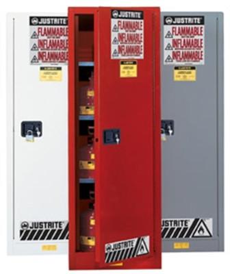 Justrite® Flammable Cabinet, 54 gal Deep Slimline Gray, Self-Closing