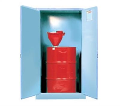 Justrite® Acid Drum Cabinet, 55 gal Blue, Self-Closing, drum support