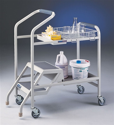 Lab Cart, Stockroom Cart with Built-in Step Ladder