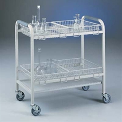 Lab Cart, Glassware Laboratory Cart with 4 Baskets