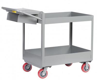 """Rolling Utility Cart, Heavy Duty, 6"""" Tray Shelves, 24 x 36"""