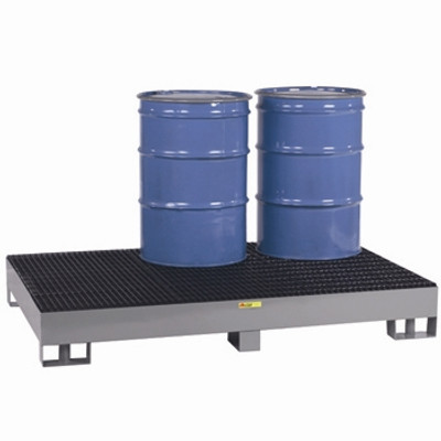 Spill Control Platform, Forklift ready, 6-Drum, 99 gal sump