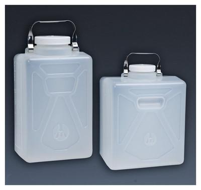Nalgene® Polypropylene Carboys, Rectangular with SS Handle, 9 Liter, case/6