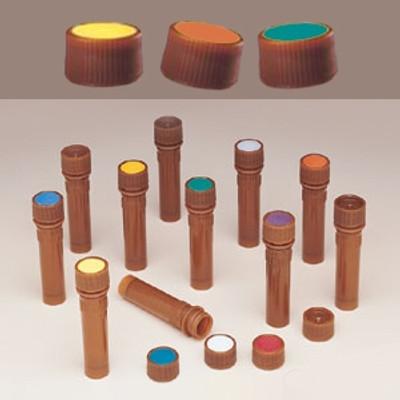 Nalgene® 362825-0116 11mm Amber Caps for Micro Vials, Blue Spot, case/1000