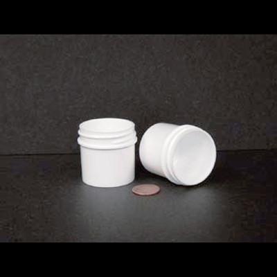 Bulk 1 oz 43mm White PP Jars, 25mL (no caps), case/980