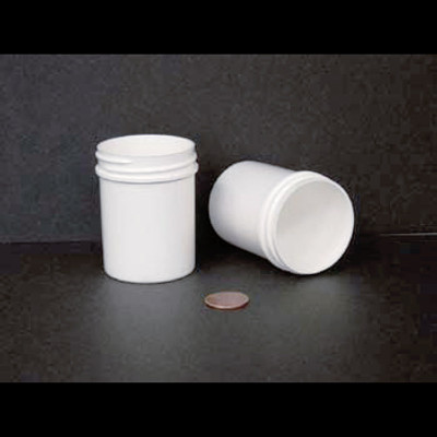 Bulk 2 oz 48mm White PP Jars, 60mL (no caps), case/585