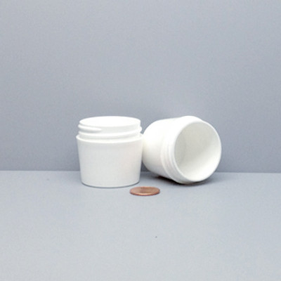 Tapered Jars, 43mm White PP Thick Wall, 30mL (1 oz), No Caps, case/784