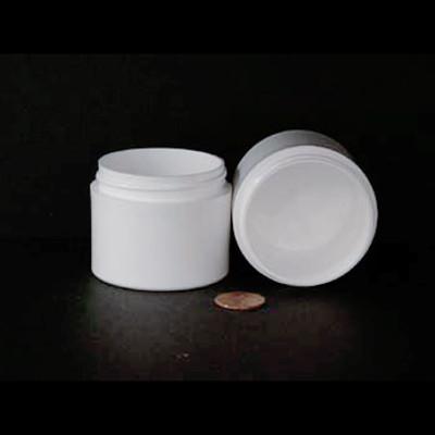 Bulk 2 oz 53mm White PP Thick Wall Jars, 80mL (no caps), case/504