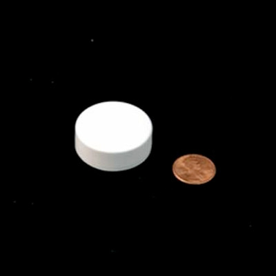 33mm (33-400) White PP Pressure Sensitive Lined Smooth Cap, Each