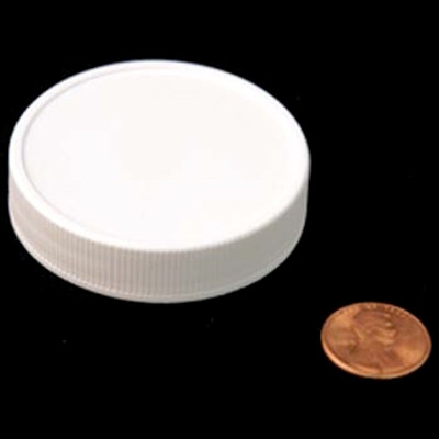53mm (53-400) White PP Heat Seal Lined Ribbed Cap, Each