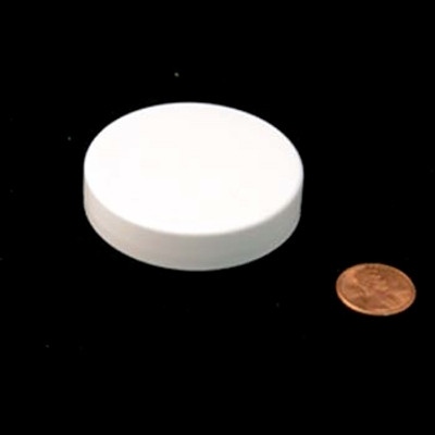 53mm (53-400) White PP Pressure Sensitive Lined Smooth Cap, Each