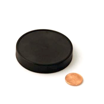 63mm (63-400) Black PP Heat Seal Lined Ribbed Cap, Each