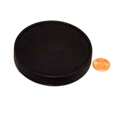 83mm (83-400) Black PP Pressure Sensitive Lined Smooth Cap, Each