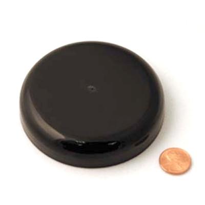 89mm (89-400) Black Polypropylene Pressure Sensitive Lined Domed Cap, Each