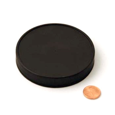 89mm (89-400) Black Polypropylene Heat Seal Lined Smooth Cap, Each