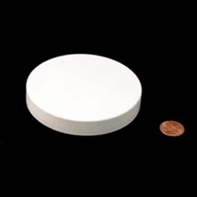 89mm (89-400) White PP Pressure Sensitive Lined Smooth Cap, Each