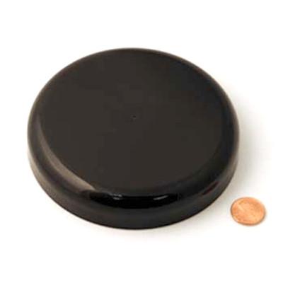 120mm (120-400) Black PP Unlined Domed Cap, Each