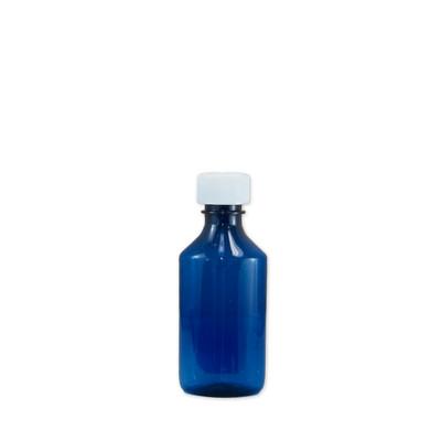 Oval Pharmacy Bottle, Blue, Graduated, Child-Resistant, 4 oz, case/200