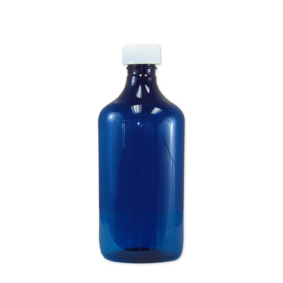 Oval Pharmacy Bottles, Blue, Graduated, Child-Resistant, 16 oz, case/50