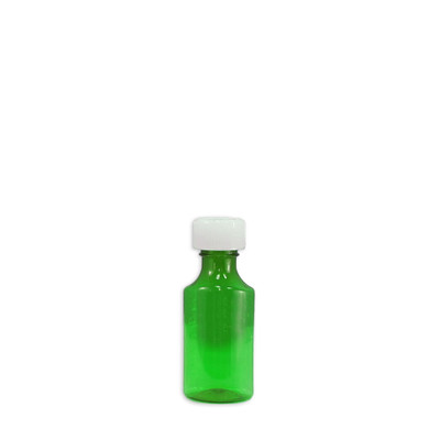 Oval Pharmacy Bottles, Green, Graduated, Child-Resistant, 2 oz, case/200