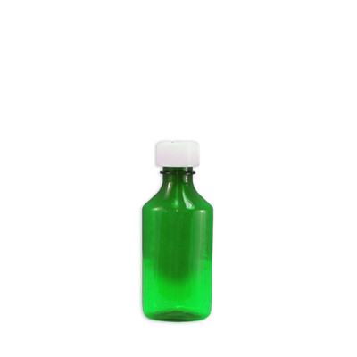 Oval Pharmacy Bottle, Green, Graduated, Child-Resistant, 4 oz, case/200