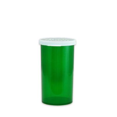 Green Pharmacy Vials, Easy Snap-Caps, Green, 40 dram (148mL), case/190
