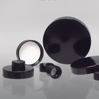 24-410 Black Phenolic Cap with Pulp/Vinyl Liner, Each