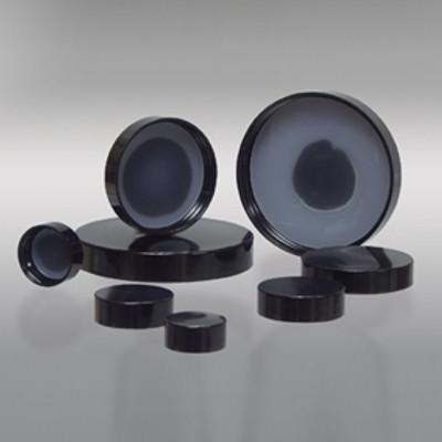 43-400 Black Phenolic Cap with Solid Polyethylene Liner, Each