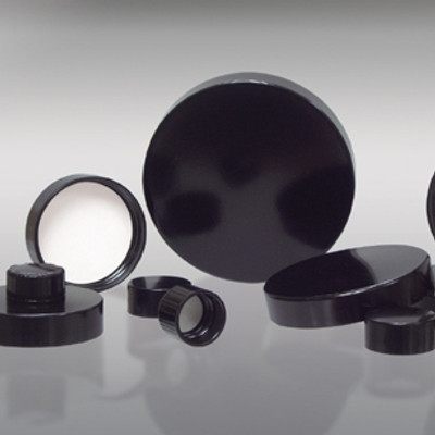 48-400 Black Phenolic Cap with Pulp/Vinyl Liner, Each