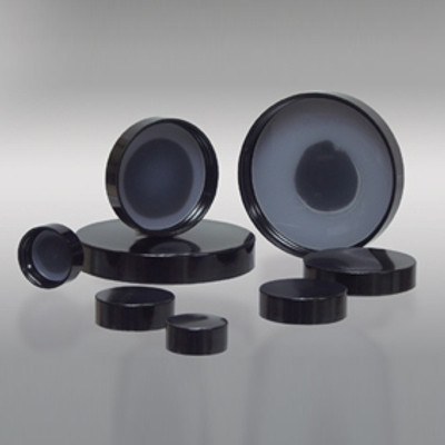 58-400 Black Phenolic Cap with Solid Polyethylene Liner, Each
