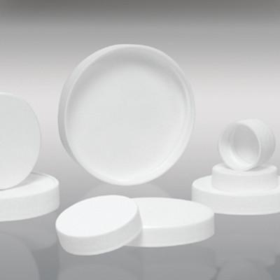 120-400 White Ribbed PP Cap with SturdeeSeal PE Foam Liner, Each