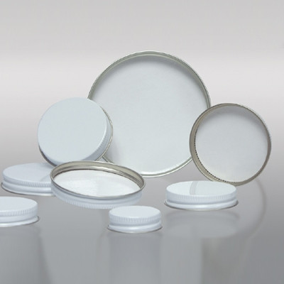 89-400 White Metal Cap, Pulp Polyethylene Lined, Each