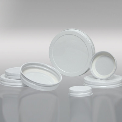 89-400 White Metal Cap, Plastisol Lined, Each