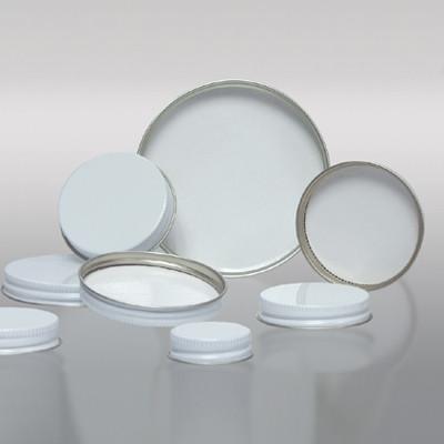38-400 White Metal Cap, Pulp Polyethylene Lined, Each