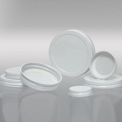 58-400 White Metal Cap, Plastisol Lined, Each