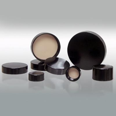 24-400 Black Ribbed Caps, PTFE Liner, case/576