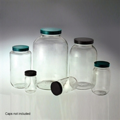 Wide Mouth Glass Bottles, 16 oz, Clear, No Caps, case/24