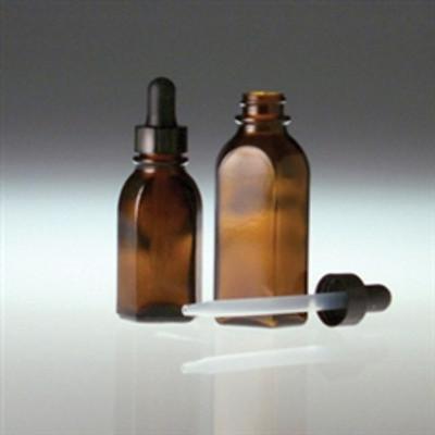 Amber Oval Dropper Bottle, 1 oz with 20-400 Black PP Cap, 7 x 72mm Plastic Dropper, case/72