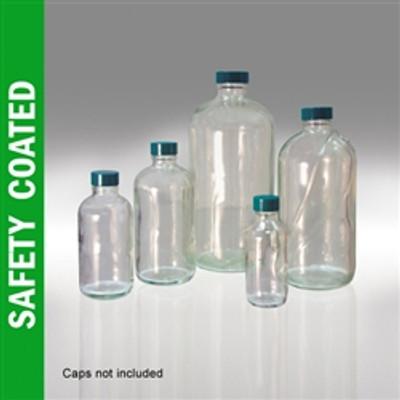 Safety Coated Glass Bottles, 32 oz, Boston Round Bottles, No Caps, case/12