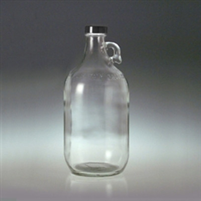 Clear Glass Jugs, 2 liter with 38-400 Black PP Cap & PTFE Disc, case/6